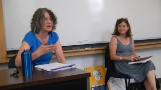 Ellen Meeropol and Ruthie Rhode leading the Social Change seminar this summer.  photo courtesy of Elizabeth Searle