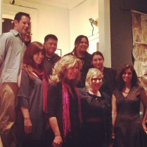 The readers for 'Lost Lit Presents Stonecoast MFA in NYC': Elizabeth Searle (in pink scarf); counterclockwise from Elizabeth: Bobbie Ford, Cristina Petrachio, Nora Grosvenor, Alexandria Delcourt, Kristabelle Munson, Lindsey Jacqueline, Richard Squires, Alexis Paige.