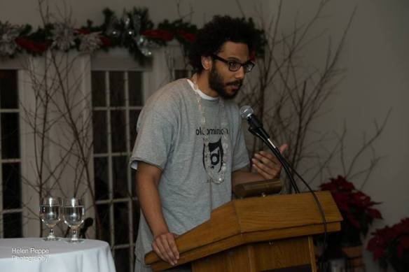 Quenton Baker at Alumni Reading (photo by Helen Peppe)